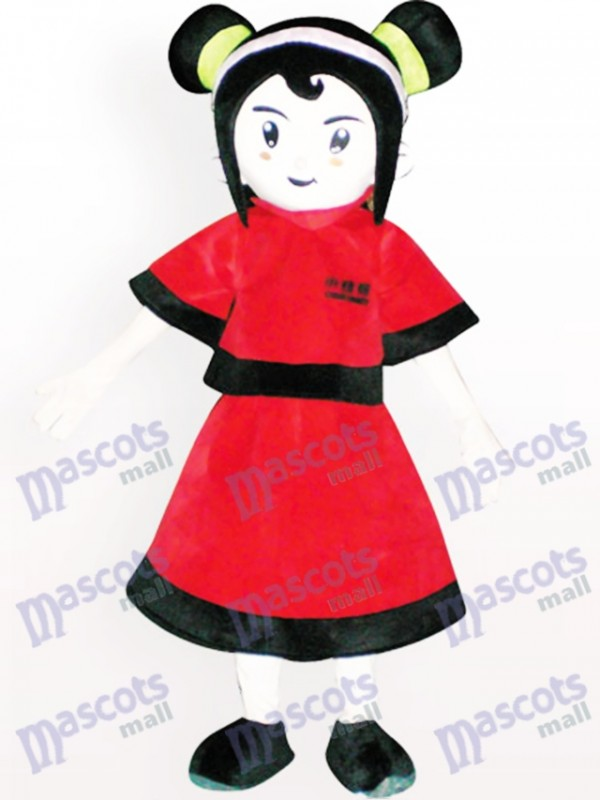 Red Dressed Girl Cartoon Adult Mascot Costume
