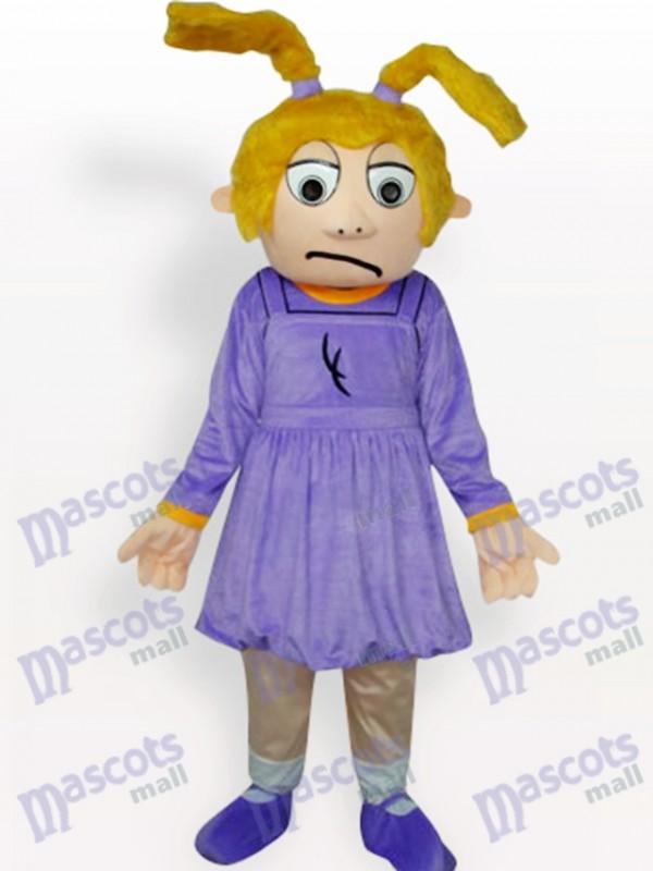 Purple Sad Girl Cartoon Adult Mascot Costume