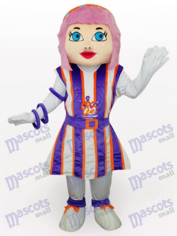 Purple Hair Girl Cartoon Adult Mascot Costume