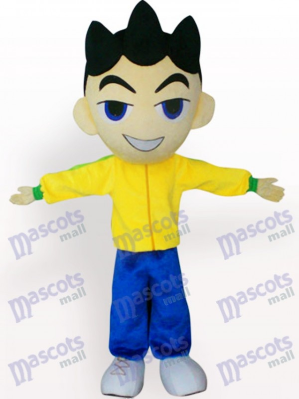 Big Head Boy In Yellow Clothes Cartoon Adult Mascot Costume