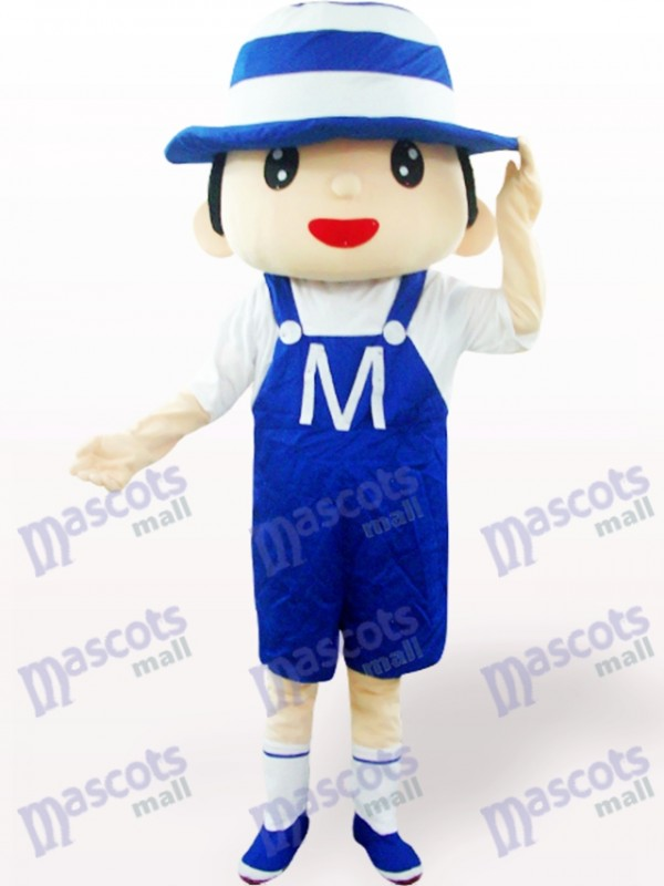 Blue Bonnet Boy Cartoon Adult Mascot Costume