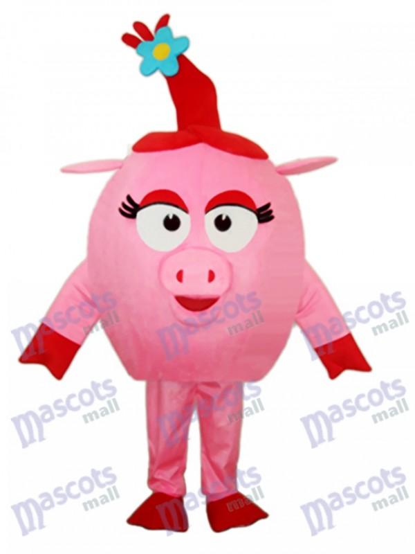 Red Round Pig Mascot Adult Costume
