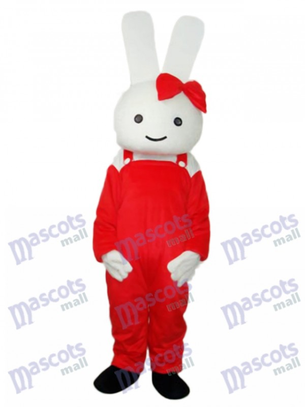 Easter Red Overall Rabbit Mascot Adult Costume