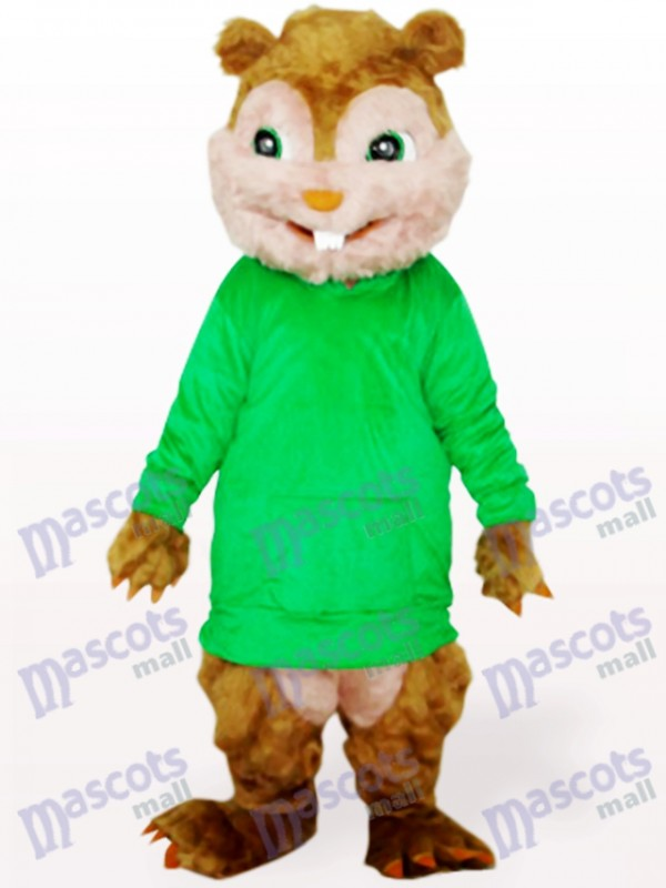 Green Squirrel With Long Hair And Short Teeth Animal Adult Mascot Costume