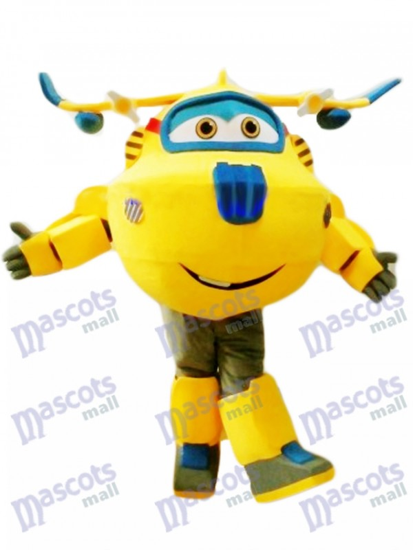Yellow and Blue Plane Donnie Super Wings Mascot Costume Cartoon Anime