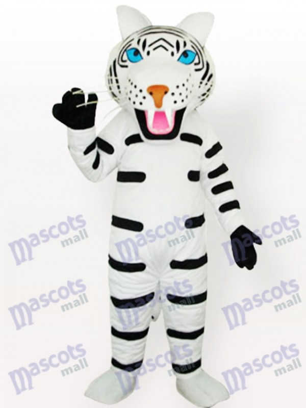 White Tiger with Black Stripes Adult Mascot Costume Type B
