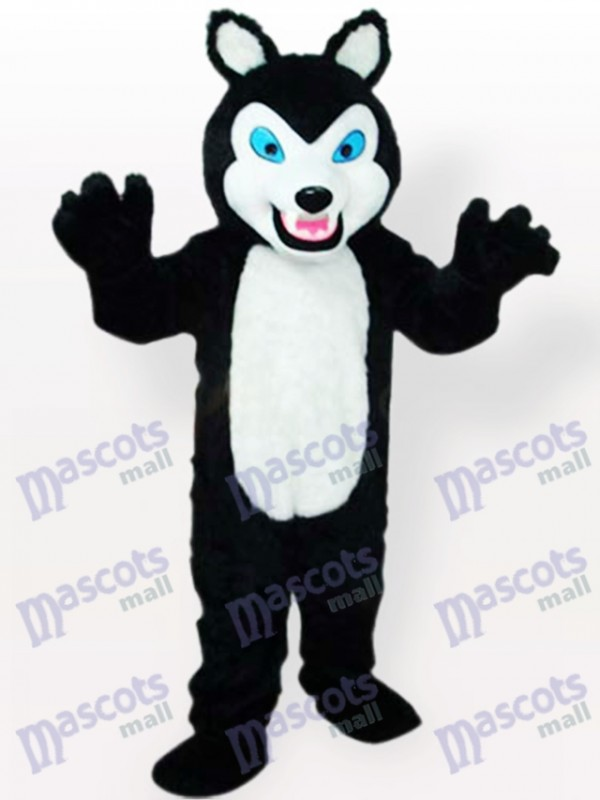 Small Black Wolf with Grinning Teeth Animal Adult Mascot Costume